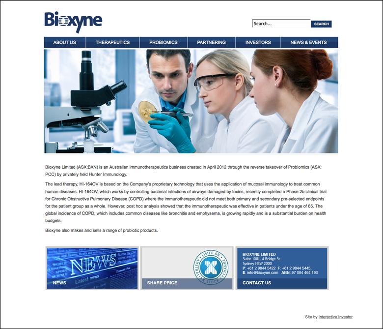 Bioxyne Corporate Site 2012