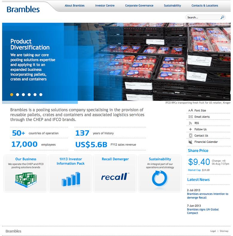 Brambles Corporate Website 2013