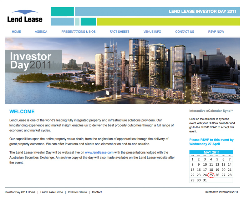 Lend Lease Investor Day 2011